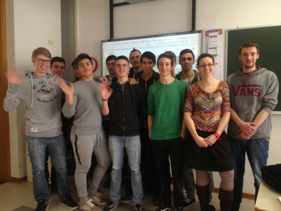 Pilati students celebrate after their first Live Google Hangout On Air!